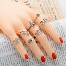 7x/Set Women Bohemian Knuckle Carved Lotus Flower Gemstone Midi Ring Jewelry jzu