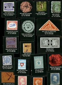 Cinderellas of worlds best stamps, perforated on black, 18x, Canada GB, BG etc.