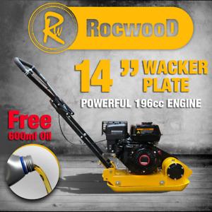 "Petrol Wacker Plate Compactor Compaction RocwooD 14"" 5.5hp 196cc Engine FREE Oil"
