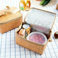 Imitation Rattan Lunch Bag Insulated Thermal Cooler Lunch Box Tote Beach Picnic