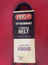 Serpentine V Ribbed Belt Pro-1 K060480 5060485 Fits Ford Cadillac Nissan Toyota