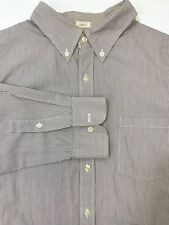 J Crew Dress Casual Shirt Long Sleeve Tailored Fit Brown Stripe Mens Size L