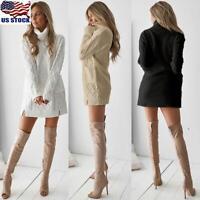 Womens Knitted Jumper Sweater Dress Turtleneck Long Sleeve Pullover Mini Dress
