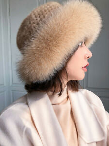 Womens Real Mink Fur Hat Knitted Cap Beanie Earmuff W Fox Fur Brim Bowler Hat