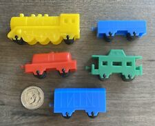 Vintage Toy Molded Plastic Train Set 5 Piece
