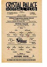 Crystal Palace v Southend United Reserves Programme 8.10.1952