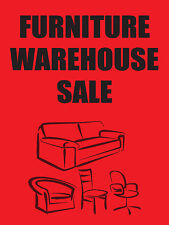 """FURNITURE WAREHOUSE SALE 18""""x24"""" BUSINESS STORE RETAIL SIGNS"""