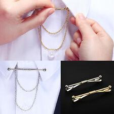 Men Metal Necktie Tie Clip Link Chain Cravat Clip Collar Bar Pin Brooch-am