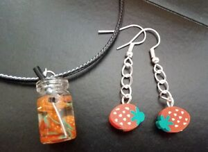 A Fun Set Polymer Clay STRAWBERRY Earrings and Glass Drink Necklace SUMMER FUN