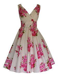 1950's Vintage Rose Floral Print Cotton Tea Dress New Size UK 8
