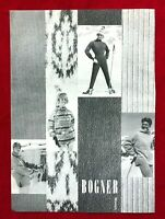 Vintage 1960 Bogner Munich Ski Wear Snow Clothing Sweaters Black White Print Ad