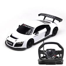 Scala 1:18 R / C Audi R8 RC Remote Control VOLANTE controllata Auto Bianco