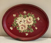 "Vintage Hand Painted Red Floral Metal Tray Toleware Americana Oval 17.5""x14"""