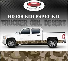 "Trucker Girl Desert Camo Rocker Panel Graphic Decal Wrap Truck SUV - 12"" x 24FT"