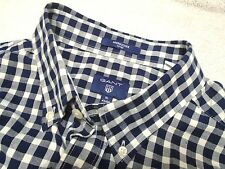 Gant Rugger 100% Cotton Navy Gingham Check Sport Shirt Long Sleeve NWT XXL $125