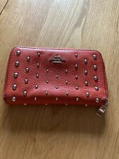 Gorgeous Genuine Coach 100% Leather Purse Zip Around Wallet Orange Red Studded
