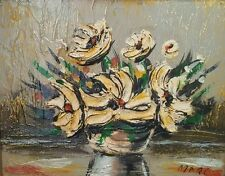 MCM FLORAL STILL LIFE OIL PAINTING HEAVY IMPASTO SIGNED HUNGARIAN ARTIST MARC