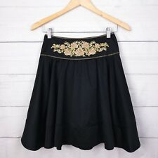 Forever New Womens Skirt 6 High Waist Floral Embroidery A-Line Pocket Black A121