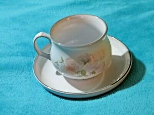 Vintage Denby Dauphine Pattern Fine Stoneware Tea Cup And Saucer Free UK P&P