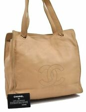 Authentic CHANEL Lamb Skin CC Shoulder Hand Bag Beige A5032