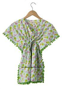 100% Coton Vêtements Enfants Caftan Flamingo Haut Imprimé Bébé Fille Été Robe