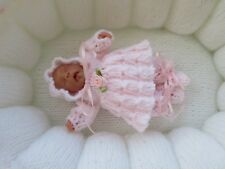 """Hand Knitted 4/5"""" Ooak Sculpt Baby Doll Set"""