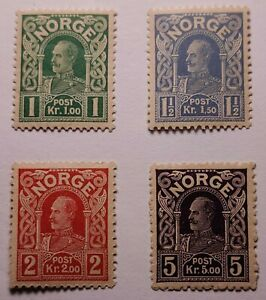 Norway Norge 1910 High value Set Lightly Mounted Mint. €30. Perfs as photos