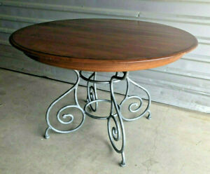 ETHAN ALLEN Maison Legacy Round dining table With Metal Base, Made In America