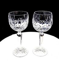 """WATERFORD CUT CRYSTAL SIGNED 2 PC ROSSLARE 7 3/8"""" WINE HOCKS 1968-2017"""