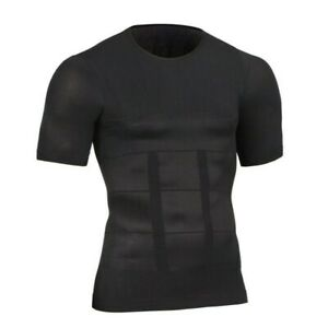 Men's Compression Vest T-Shirt Moobs Slimming Tummy Control Body Shaper Tops UK