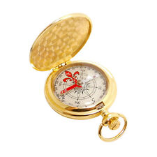 Luminous Golden Retro Vintage Pocket Watch Compass Metal Case Outdoor Camping