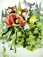 Grenwis POPPY & COLUMBINE FLOWER CHILD 1936 Art Matted