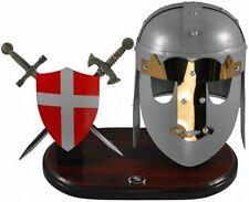 Miniature Templar Crusader Helmet, Battle Shield and Sword Letter Openers - NIB