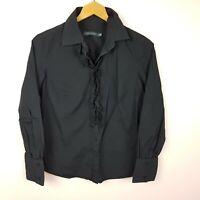 Sportscraft Shirt Size 10 Black Frill Detail
