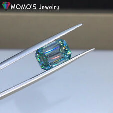 2ct Loose Moissanite Blue Emerald Cut with Certificate Excellent cut