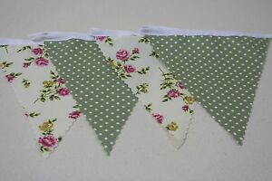 Cream Rose and Sage Green Spot fabric Bunting 20ft/6m long Great for any event