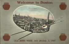 Boston MA Old Home Week Paint Palette Border Bean Pots 1907 Postcard