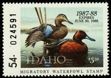 Idaho State Duck Stamp Cinnamon Teal 1987 Id1 Id01 Mnh