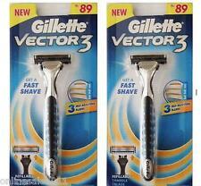 2 Gillette Vector 3 Razor Handle for Sensor, Sensor Excel 2 Cartridges Free Ship