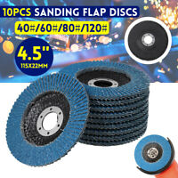 10Pcs 115MM 4.5'' FLAP DISCS MIXED GRIT 40 60 80 120 # WHEELS ZIRCONIA