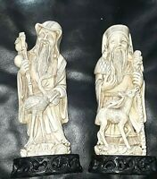 Vintage Two CHINESE RESIN CARVED FIGURINE  PAIR - stands 9 high