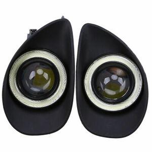 2x Front LED Fog Light Angel Eye Lamp For Toyota Yaris Hatchback NCP9 2006-2010