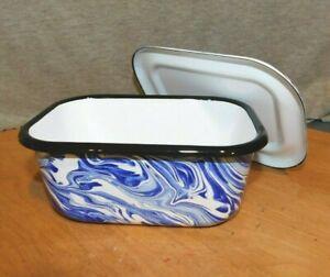 "BLUE & WHITE SWIRL ENAMEL WARE Covered Refrigerator Dish 7 1/2"" L Good"
