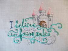 """Embroidered Quilt Block Panel """"I Believe In Fairy Tales"""" Pure Irish Linen Fabric"""