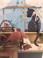 Vintage Cat Cat's Pattern Sewing Window Sill Shelf Kitty Home Decor Plush Gift