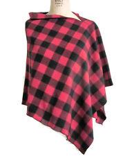 Red Buffalo Plaid Check Asymmetrical Poncho Wrap L/XL