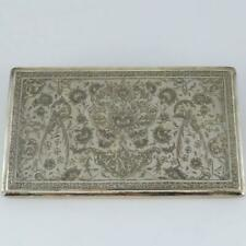 ANTIQUE PERSIAN BIRDS FLOWERS ENGRAVED SIGNED FINE 84 SILVER CIGARETTE CASE
