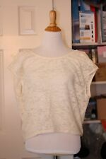 $68 NEW BCBG Oversized Shirt Women's Small White Off Beige Top Blouse Bralette