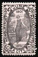 USA Poster Stamp - 1901 Newburyport, Massachusetts 50th Anniversary Black/Pink