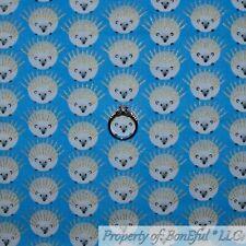 BonEful Fabric Fq Cotton Quilt Blue White Baby Boy Gold Metallic Hedgehog Mammal